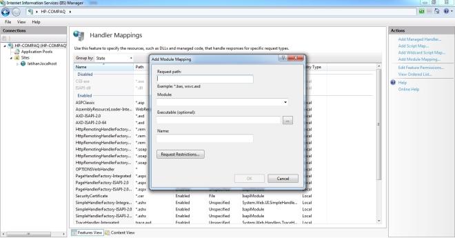 Akan muncul pop-up untuk mengisi parameter-parameter Handler Mapping yang akan di Add