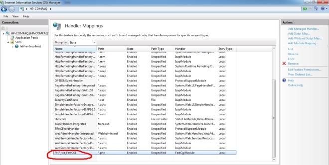 Didalam Handler Mappigs list akan bertambah PHP_via_FastCGI sebagai handler untuk ekxtensi file *.php