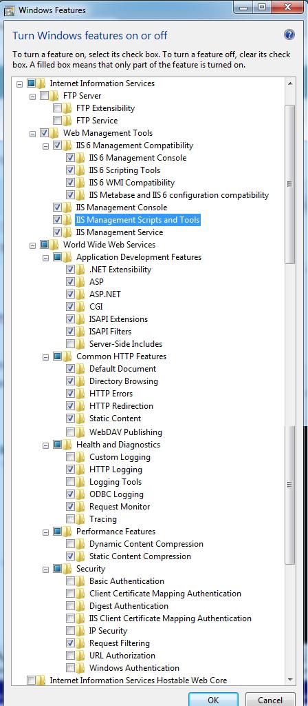 Aktifkan dengan memberi tanda checklist pada services yang kamu ingin install. Disini saya menginstall banyak component termasuk ASP dan ASP.NET juga, karena memang saya pergunakan untuk kemudian hari